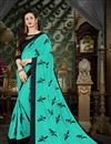 image of Turquoise Function Wear Georgette Saree With Thread Work