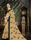 image of Beige Fancy Party Wear Thread Work Embroidered Saree