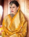 photo of Banarasi Silk Designer Saree In Yellow With Weaving Work