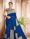 image of Banarasi Silk Navy Blue Puja Wear Saree With Weaving Work