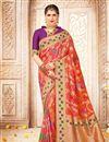 image of Weaving Work On Salmon Banarasi Silk Puja Wear Saree