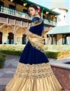 photo of Georgette Sangeet Wear Blue And Beige Fancy Embellished Saree