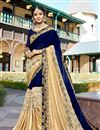 image of Georgette Sangeet Wear Blue And Beige Fancy Embellished Saree