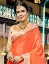 photo of Function Wear Beige And Salmon Color Georgette Designer Embroidered Saree