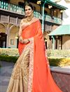 image of Georgette Sangeet Wear Beige And Salmon Color Fancy Embellished Saree