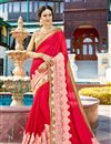 image of Function Wear Crimson Color Georgette Designer Embroidered Saree