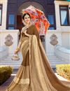image of Wedding Function Wear Light Brown Georgette Designer Embellished Saree