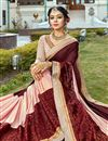 photo of Wedding Function Wear Brown Georgette Designer Embellished Saree