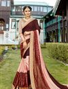 image of Wedding Function Wear Brown Georgette Designer Embellished Saree
