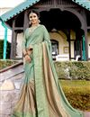 image of Georgette Wedding Wear Embroidered Fancy Saree In Sea Green