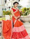 photo of Light Orange Sangeet Wear Georgette Fancy Embellished Saree