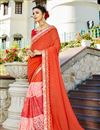 image of Light Orange Sangeet Wear Georgette Fancy Embellished Saree
