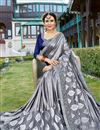 photo of Grey Sangeet Wear Georgette Fancy Embellished Saree