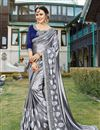 image of Grey Sangeet Wear Georgette Fancy Embellished Saree