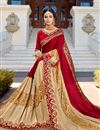 photo of Red And Cream Georgette Wedding Function Wear Fancy Saree