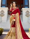 image of Red And Cream Georgette Wedding Function Wear Fancy Saree