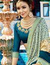 photo of Wedding Function Wear Teal And Beige Georgette Designer Embellished Saree