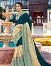 image of Teal And Beige Georgette Wedding Function Wear Fancy Saree