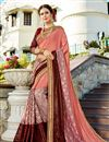 image of Peach Wedding Wear Embroidered Fancy Saree In Georgette
