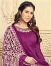 photo of Threadwork Chanderi Dark Magenta Straight Cut Salwar Suit