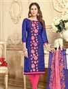 image of Threadwork Embroidered Chanderi Straight Cut Suit