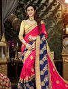 image of Dark Pink Art Silk Designer Wedding Wear Saree