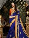 image of Designer Blue Embellished Saree With Zari Work