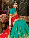 photo of Function Wear Fancy Saree In Red And Cyan With Zari Work