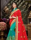 image of Function Wear Fancy Saree In Red And Cyan With Zari Work