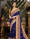 image of Georgette Designer Fancy Saree With Zari Embroidery