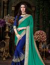image of Designer Teal And Blue Embroidered Saree With Lace Work