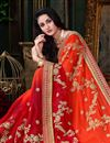 photo of Orange Embellished Georgette Saree With Lace Border