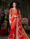 image of Orange Embellished Georgette Saree With Lace Border