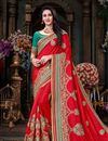 image of Embroidered Function Wear Saree With Fancy Lace Work