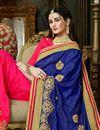 photo of Party Wear Blue And Dark Pink Art Silk Designer Saree In Embroidered Work