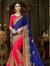 image of Party Wear Blue And Dark Pink Art Silk Designer Saree In Embroidered Work