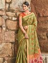 image of Weaving Work On Khaki Designer Patola Art Silk Saree