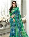 image of Fancy Green Office Wear Saree With Plain Blouse