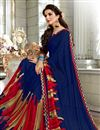 photo of Fancy Daily Wear Saree In Navy Blue With Classic Blouse