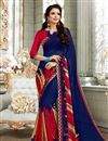 image of Fancy Daily Wear Saree In Navy Blue With Classic Blouse