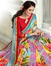 photo of Fancy Fabric Saree In Light Cyan With Attractive Blouse