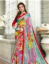 image of Fancy Fabric Saree In Light Cyan With Attractive Blouse