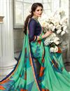 photo of Stylish Sea Green Printed Saree In Fancy With Alluring Blouse