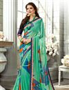 image of Stylish Sea Green Printed Saree In Fancy With Alluring Blouse