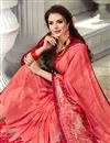 photo of Salmon Fancy Fabric Daily Wear Printed Saree With Plain Blouse
