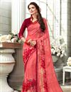 image of Salmon Fancy Fabric Daily Wear Printed Saree With Plain Blouse