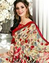 photo of Printed Designs On Cream Fancy Saree With Mesmerizing Blouse