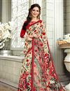 image of Printed Designs On Cream Fancy Saree With Mesmerizing Blouse