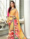 image of Fancy Fabric Saree In Yellow With Plain Blouse