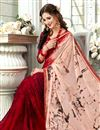 photo of Peach Plain Printed Saree In Fancy Fabric With Beautiful Blouse